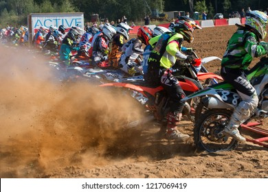 MOSCOW, RUSSIA - SEPTEMBER 15, 2018: Unrecognized athlete,  class OPEN-ABCD, in the Velyaminovo Race Weekend 2018, Motopark Velyaminovo, Istrinsky district