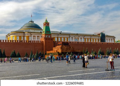 Moscow, Russia - September 15, 2018: Tourists behind Lenin's mausoleum on on Red Square in Kremlin located