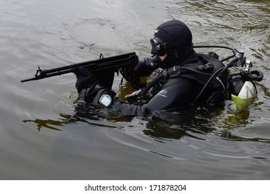 MOSCOW, RUSSIA - SEPTEMBER 16, 2013:Special-purpose Units of the army and police are designed for special events with the use of special tactics and tools. Training fighters  in Moscow.