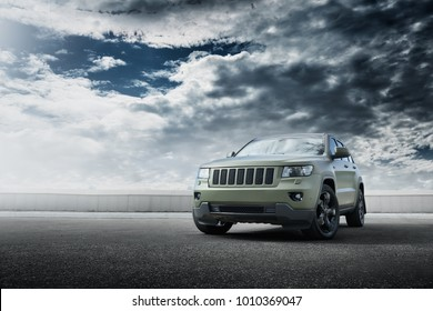 Moscow, Russia - September 16, 2017: Car Jeep Grand Cherokee wrapped in matte vinyl is standing on the parking