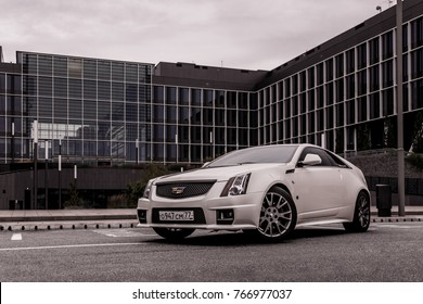 MOSCOW, RUSSIA - SEPTEMBER 17, 2017 - Cadillac CTS Coupe Test, Comcity Office Park.
