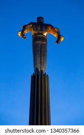 MOSCOW, RUSSIA - SEPTEMBER 17, 2018: Titanium monument to first astronaut Yuri Gagarin on Gagarin Square at evening dusk. April 12, 1961, Yuri Gagarin made first flight into space on VOSTOK spacecraft
