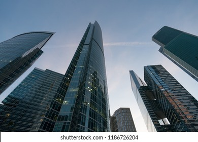 Moscow / Russia - September 18 2018: Moscow City buildings made of glass and metal. Moscow City the modern business district of Moscow