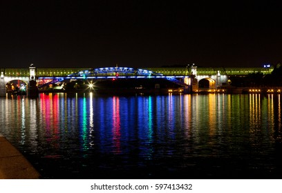 MOSCOW, RUSSIA. September 19, 2010: Night view of St. Andrew the pedestrian bridge is reflected in the Moscow river, Moscow, Russia.