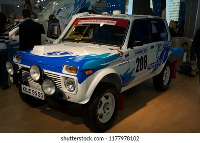 MOSCOW, RUSSIA - SEPTEMBER 2, 2006: Lada Niva T3 rally racing four wheel drive SUV car at Moscow International Motor Show.