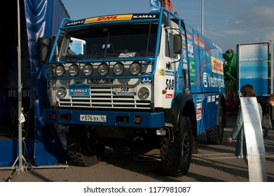 MOSCOW, RUSSIA - SEPTEMBER 2, 2006: KAMAZ-4911 Racing Truck version 2006 Lisboa - Dakar rally winner at Moscow International Motor Show.