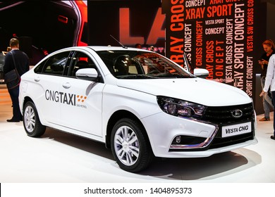 Moscow, Russia - September 2, 2016: Motor car Lada Vesta CNG presented at the annual Moscow International Motor Show MIMS-2016.