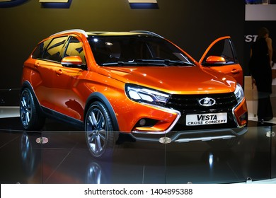 Moscow, Russia - September 2, 2016: Motor car Lada Vesta Cross presented at the annual Moscow International Motor Show MIMS-2016.