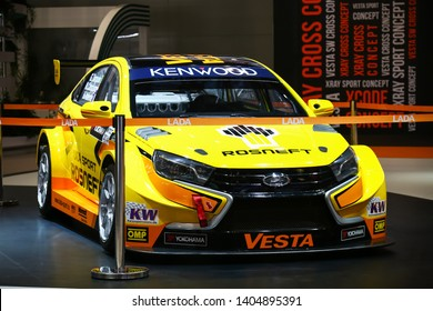 Moscow, Russia - September 2, 2016: Race car Lada Vesta WTCC presented at the annual Moscow International Motor Show MIMS-2016.