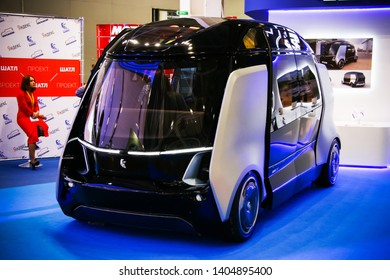 Moscow, Russia - September 2, 2016: Electric bus with autopilot KAMAZ Shuttle presented at the annual Moscow International Motor Show MIMS-2016.