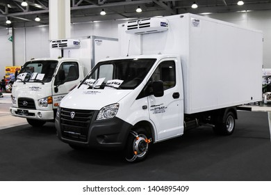 Moscow, Russia - September 2, 2016: White cargo van GAZ Gazelle Next presented at the annual Moscow International Motor Show MIMS-2016.