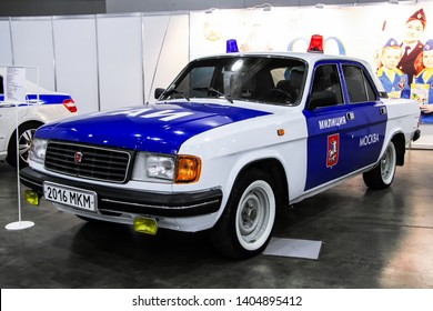 Moscow, Russia - September 2, 2016: Soviet road traffic police car GAZ-31029 Volga presented at the annual Moscow International Motor Show MIMS-2016.