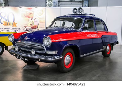 Moscow, Russia - September 2, 2016: Soviet police car GAZ-21 Volga presented at the annual Moscow International Motor Show MIMS-2016.