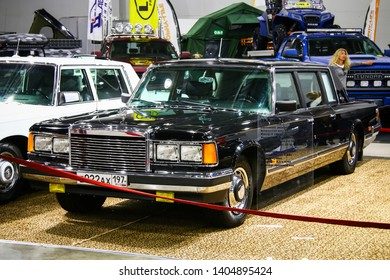 Moscow, Russia - September 2, 2016: Soviet governmental limousine ZiL 41047 presented at the annual Moscow International Motor Show MIMS-2016.