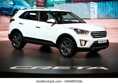 Moscow, Russia - September 2, 2016: New crossover Hyundai Creta presented at the annual Moscow International Motor Show MIMS-2016.