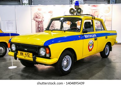 Moscow, Russia - September 2, 2016: Soviet police car Izh Moskvich 412 presented at the annual Moscow International Motor Show MIMS-2016.