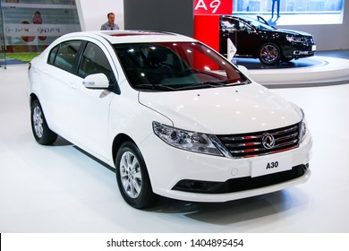 Moscow, Russia - September 2, 2016: Chinese motor car DongFeng A30 presented at the annual Moscow International Motor Show MIMS-2016.