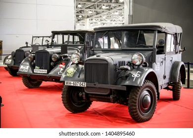 Moscow, Russia - September 2, 2016: German military car of World War II BMW Typ 325 4x4 presented at the annual Moscow International Motor Show MIMS-2016.