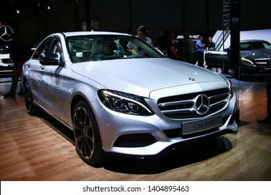 Moscow, Russia - September 2, 2016: Motor car Mercedes-Benz W205 C200 presented at the annual Moscow International Motor Show MIMS-2016.