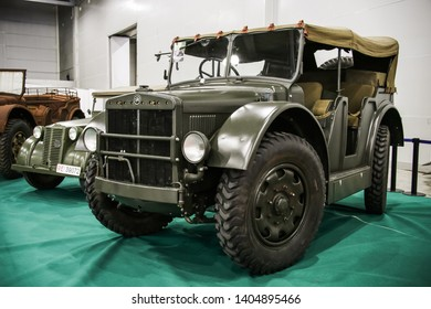Moscow, Russia - September 2, 2016: Military artillery tractor of World War II Fiat SPA 37 TL presented at the annual Moscow International Motor Show MIMS-2016.