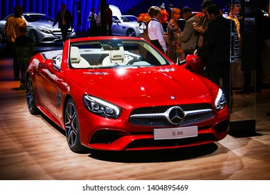 Moscow, Russia - September 2, 2016: Convertible car Mercedes-Benz R231 SL400 presented at the annual Moscow International Motor Show MIMS-2016.