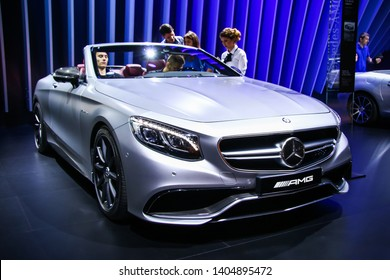 Moscow, Russia - September 2, 2016: Luxury convertible car Mercedes-Benz A217 S63 AMG presented at the annual Moscow International Motor Show MIMS-2016.