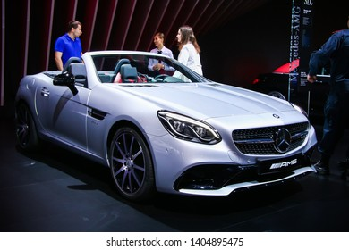 Moscow, Russia - September 2, 2016: Convertible car Mercedes-Benz R172 SLC43 AMG presented at the annual Moscow International Motor Show MIMS-2016.