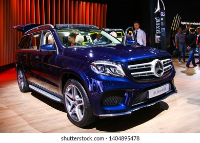 Moscow, Russia - September 2, 2016: Luxury SUV car Mercedes-Benz X166 GLS350d presented at the annual Moscow International Motor Show MIMS-2016.