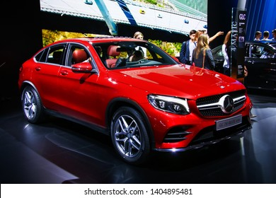 Moscow, Russia - September 2, 2016: Luxury SUV car Mercedes-Benz C253 GLC250 presented at the annual Moscow International Motor Show MIMS-2016.