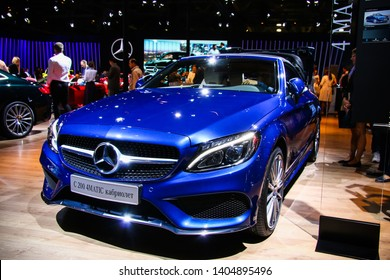 Moscow, Russia - September 2, 2016: Motor car Mercedes-Benz A205 C200 presented at the annual Moscow International Motor Show MIMS-2016.