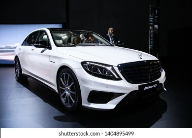 Moscow, Russia - September 2, 2016: Luxury motor Mercedes-Benz W222 S63 AMG presented at the annual Moscow International Motor Show MIMS-2016.