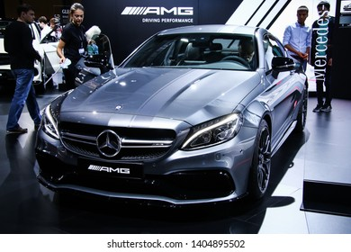 Moscow, Russia - September 2, 2016: Sportscar Mercedes-Benz C205 C63S AMG presented at the annual Moscow International Motor Show MIMS-2016.