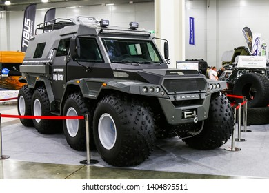 Moscow, Russia - September 2, 2016: 8x8 all-terrain vehicle on the low-pressure tires Avtoros Shaman presented at the annual Moscow International Motor Show MIMS-2016.