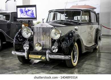Moscow, Russia - September 2, 2016: Retro car 1951 Rolls-Royce Silver Wraith presented at the annual Moscow International Motor Show MIMS-2016.