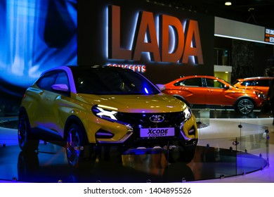 Moscow, Russia - September 2, 2016: Concept car Lada X-Code presented at the annual Moscow International Motor Show MIMS-2016.