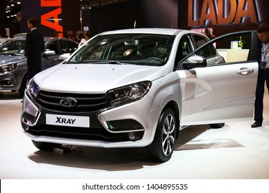 Moscow, Russia - September 2, 2016: Motor car Lada X-Ray presented at the annual Moscow International Motor Show MIMS-2016.