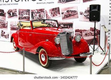 Moscow, Russia - September 2, 2016: Red retro car Mercedes-Benz W142 (Type 320) presented at the annual Moscow International Motor Show MIMS-2016.