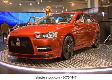 MOSCOW, RUSSIA - SEPTEMBER 2: Mitsubishi Lancer Evolution RPM presented at the Moscow International Autosalon on September 2, 2008 in Moscow.