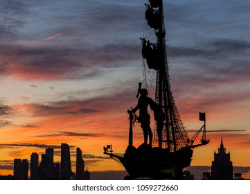 Moscow, Russia - September 20, 2017: Silhouettes of Peter the Great Statue, Moscow International Business Center and Ministry of Foreign Affairs - all symbols of power and success - at colorful sunset