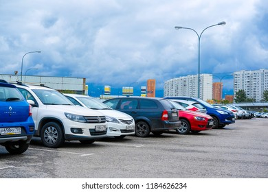 Moscow, Russia - September, 20, 2018: Cars on a parking on a park-and-ride parking near Annino metro station in Moscow, Russia