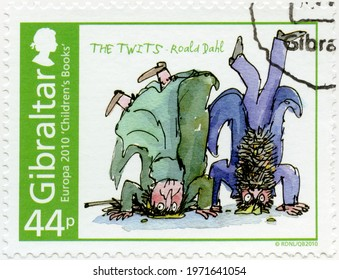 MOSCOW, RUSSIA - SEPTEMBER 20, 2020: A stamp printed in Gibraltar shows Charlie and the Twits, Roald Dahl, series Europa Childrens books, 2010