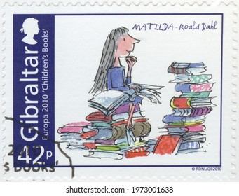 MOSCOW, RUSSIA - SEPTEMBER 20, 2020: A stamp printed in Gibraltar shows Matilda, Roald Dahl, series Europa Childrens books, 2010