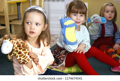 MOSCOW, RUSSIA - September, 2009: Children playing with puppet sockin the house of creativity  in Moscow.