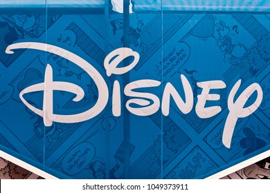 Moscow, Russia - September, 2017: Disney logo sign printed on banner. The Walt Disney Company, commonly known as Disney, is an American mass media and entertainment company