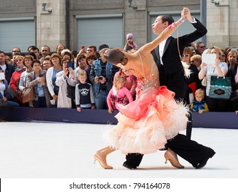 Moscow, Russia - September, 2017: Performances of professional dancers at the celebration in honor of the city's day. Crowd of spectators, Ballroom dancing. Tverskaya street of Moscow. Waltz