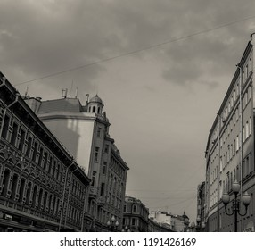 MOSCOW, RUSSIA - September 2018: Black and White of Arbat street - one of the main tourist attractions of Moscow, full of shops and restaurants.