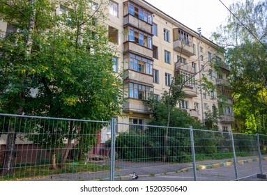 Moscow, Russia - September 2019: Evicted old residential building on Vernadsky Avenue, designed for demolition under the renovation program.