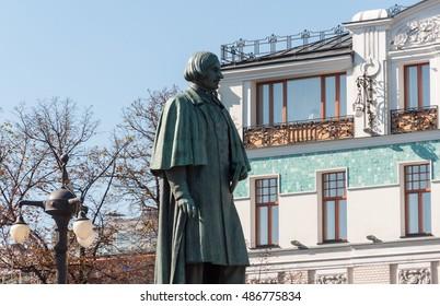 Moscow, Russia - September 21, 2015. Monument to writer Gogol on Nikitsky Boulevard