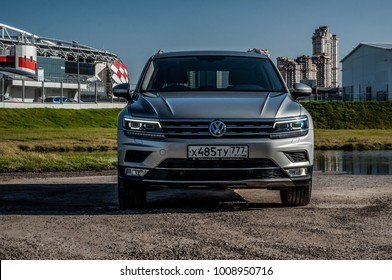 MOSCOW, RUSSIA - SEPTEMBER 22, 2017 VOLKSWAGEN TIGUAN compact 4motion crossover car SUV manufactured by Volkswagen, front-side view. Test of new car - Volkswagen Tiguan. Second generation. 2.0 Engine