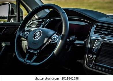 MOSCOW, RUSSIA - SEPTEMBER 22, 2017 VOLKSWAGEN TIGUAN compact 4motion crossover car SUV manufactured by Volkswagen, interior view. Test of new car - Volkswagen Tiguan. Second generation. 2.0 Engine